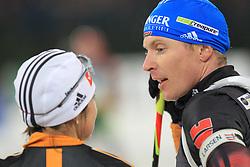 28.12.2013, Veltins Arena, Gelsenkirchen, GER, IBU Biathlon, Biathlon World Team Challenge 2013, im Bild Andrea Henkel (Deutschland / Germany) im Gespraech mit Andreas Birnbacher (Deutschland / Germany) // during the IBU Biathlon World Team Challenge 2013 at the Veltins Arena in Gelsenkirchen, Germany on 2013/12/28. EXPA Pictures © 2013, PhotoCredit: EXPA/ Eibner-Pressefoto/ Schueler<br /> <br /> *****ATTENTION - OUT of GER*****