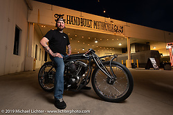 Chris Moos with a new Motorcycle Missions charity Shovelhead at the Handbuilt Show. Austin, TX. USA. Sunday April 22, 2018. Photography ©2018 Michael Lichter.
