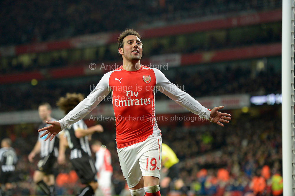 Santi Cazorla of Arsenal celebrates after scoring his teams fourth goal from a Penalty to make it 4-1. Barclays Premier league match, Arsenal v Newcastle Utd at the Emirates Stadium in London on Saturday 13th December 2014.<br /> pic by John Patrick Fletcher, Andrew Orchard sports photography.