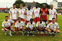 FOOTBALL - FRIENDLY GAMES 2010/2011 - STADE BRESTOIS v LILLE OSC - 31/07/2010 - PHOTO PASCAL ALLEE / DPPI - BACK ROW (LEFT TO RIGHT) : ROMAIN POYET - NOLAN ROUX - MOISE BROU APANGA - THOMAS COTTY - STEVE ELANA AND AHMED KANTARI                                                FRONT ROW (LEFT TO RIGHT): BENOIT LESOIMONIER - BRUNO GROUGI - OSCAR EWOLO - OMAR DAF AND FILIPPAS DARLAS (BREST)