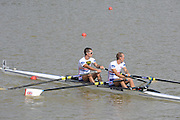 Chungju, South Korea. Men's Lightweight Double Sculls final.  Awards dock. Gold Medalist. NOR LM2X. Kristoffer BRUN (b) , Are STRANDLI. <br /> <br /> Silver medalist, SUI LM2X. Simon SCHUERCH  and Mario GYR (s)<br /> <br /> Bronze Medalist. GBR. LM2X. Richard CHAMBERS and Peter CHAMBERS (s) <br /> <br /> 2013 Rowing Championships, Tangeum Lake, International Regatta Course.  Saturday  31/08/2013 [Mandatory Credit. Peter Spurrier/Intersport Images]