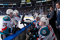 KELOWNA, CANADA - MARCH 13: Liam Kindree #26 and Ted Brennan #10 of the Kelowna Rockets stand at the bench during a time out against the Spokane Chiefs  on March 13, 2019 at Prospera Place in Kelowna, British Columbia, Canada.  (Photo by Marissa Baecker/Shoot the Breeze)