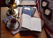 Hot tea and afternoon reading of Robert W. Service poetry, Winterlake Lodge, Finger Lake, Alaska.