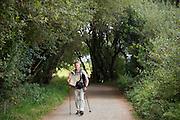 Man walks the Camino de Santiago Pilgrim's Way pilgrimage route to Santiago de Compostela in Galicia, Spain