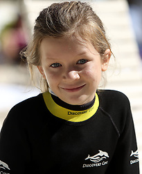 Tia Davies, 11, from Bridgend in Wales, who enjoyed a swim with a dolphin during the Dreamflight visit to Discovery Cove in Orlando, Florida.