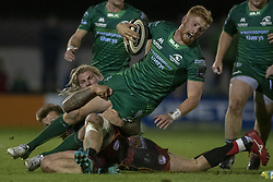 November 3, 2018 - Galway, Ireland - Darragh Leader of Connacht tackled by Richard Hibbard of Dragons during the Guinness PRO14 match between Connacht Rugby and Dragons at the Sportsground in Galway, Ireland on November 3, 2018  (Credit Image: © Andrew Surma/NurPhoto via ZUMA Press)