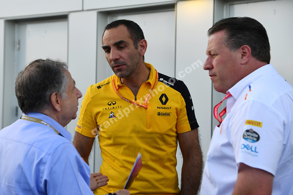 Jean Todt, Cyril Abiteboul (Renault) and Zak Brown (McLaren-Renault) after qualifying for the 2019 Canadian Grand Prix in Montreal. Photo: Grand Prix Photo