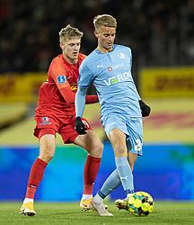 Joachim Rothmann (FC Nordsjælland) og Simon Graves (Randers FC) under kampen i 3F Superligaen mellem FC Nordsjælland og Randers FC den 19. oktober 2020 i Right to Dream Park, Farum (Foto: Claus Birch).