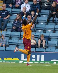 Motherwell's Gael Bigirimana (17) celebrates after scoring their second goal. Dundee 1 v 3 Motherwell, SPFL Ladbrokes Premiership game played 1/9/2018 at Dundee's Kilmac stadium Dens Park