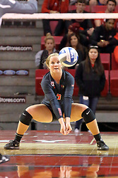 06 November 2015:  Courtney Pence(3) during an NCAA women's volleyball match between the Bradley Braves and the Illinois State Redbirds at Redbird Arena in Normal IL (Photo by Alan Look)