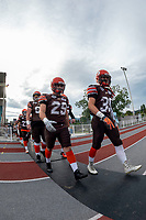 KELOWNA, BC - AUGUST 17:  Brenden RIPCO #29 and Shaye Nellis #35 of Okanagan Sun walk to the field against the Westshore Rebels  at the Apple Bowl on August 17, 2019 in Kelowna, Canada. (Photo by Marissa Baecker/Shoot the Breeze)