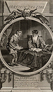 Ben Jonson (1572-1637) English dramatist.  Scene from his play 'The Alchemist' (1610), a satire on cupidity.  Abel Drugger, a tobacconist, taking plans of his new shop for advice on its arrangement to Subtle, the false alchemist.  Engraving published London, 1791.