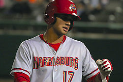 May 2, 2017 - Trenton, New Jersey, U.S - DREW WARD of the Harrisburg Senators heads back to the dugout after crossing home plate following his two-run home run in the game vs. the Trenton Thunder at ARM & HAMMER Park. (Credit Image: © Staton Rabin via ZUMA Wire)