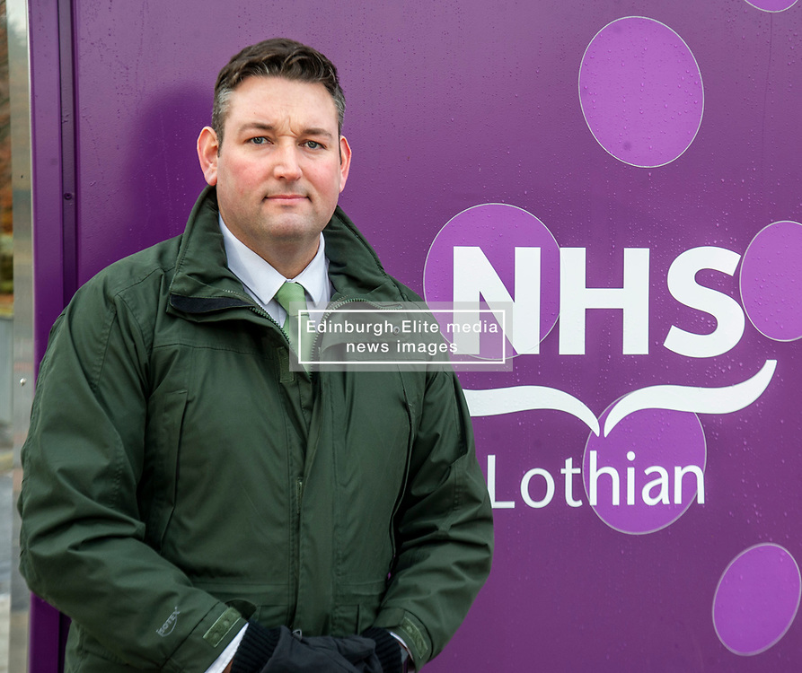 Pictured: Scottish Conservative Health spokesman Miles Briggs <br /><br />Scottish Conservative Health spokesman Miles Briggs  and Scottish Conservative Leader Jackson Carlaw were at site of the new Sick Kids hospital as he unfurled a banner stating how the SNP 'have let down young patients and their families' across Scotland.