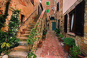 Stone staircase in an alley in Pienza, Italy. (between Rome and Florence, near Montepulciano).