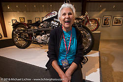 Gloria Struck on the Industry party night for Michael Lichter's tattoo themed Skin & Bones Motorcycles as Art exhibition at the Buffalo Chip during the annual Sturgis Black Hills Motorcycle Rally.  SD, USA.  August 7, 2016.  Photography ©2016 Michael Lichter.