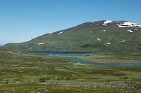 Green valley along Miellädno river along Padjelantaleden Trail, Padjelanta national park, Lapland, Sweden