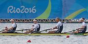 "Rio de Janeiro. BRAZIL.  GBR M4-, Bow Alex GREGORY, Mohamed SBIHI, George NASH and Constantine LOULOUDIS. 2016 Olympic Rowing Regatta. Lagoa Stadium,<br /> Copacabana,  ""Olympic Summer Games""<br /> Rodrigo de Freitas Lagoon, Lagoa. Local Time 09:46:13  Thursday  11/08/2016 <br /> [Mandatory Credit; Peter SPURRIER/Intersport Images]"