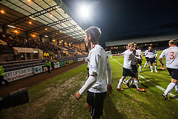 Falkirk's Luke Leahy (19) scores the equalizing goal and celebrates with team mates.<br /> Dundee 1 v 1 Falkirk, Scottish Championship game at Dundee's home ground Dens Park.<br /> ©Michael Schofield.