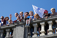Families watching the Brighton & Hove Albion Football Club Promotion Parade at Brighton Seafront, Brighton, East Sussex. United Kingdom on 14 May 2017. Photo by Ellie Hoad.
