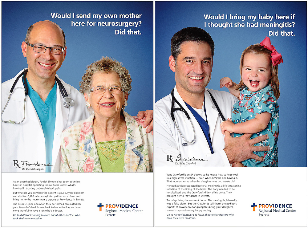 Ads for Providence of Everett.  Images of doctors with family members.