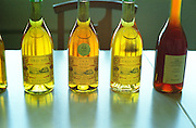 "Bottles of Tokaj wine at the Disznoko tasting room: Aszu 5 Puttonyos 1996, 6 Puttonyos 1993, 6 Puttonyos 1997, Eszencia 1999 ""hordos minta"". There is a remarkable difference in colour. Generally the deeper the older. And the eszencia is even darker and not quite clear. The aszus are really much more of a wine experience. The Disznók? winery is owned by AXA Millesimes, a French insurance company. Disznoko means pig's head since a big rock in the vineyard supposedly looks like that. The new winery is impressive and a vast amount of money has been invested. Credit Per Karlsson BKWine.com"
