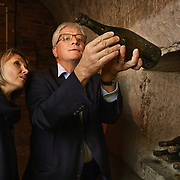"""Séverine Frerson prepares to take over the role of cellar master from Hervé Deschamps at champagne Perrier-Jouët. Deschamps leads her to the """"Eden"""" cellar containing the world's oldest bottles.Frerson will be the first woman at the helm in a row of seven male cellar masters before her. Founded in 1811 in Epernay, Maison Perrier-Jouët is one of France's most historic champagne houses, but also one of its most distinctive, renowned for its floral and intricate champagnes which reveal the true essence of the Chardonnay grape. Started in 1811, its cellars holds the world's two oldest known bottles of champagne, the 1825 vintage."""