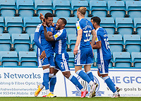 Football - 2020 / 2021 Sky Bet (EFL) League One - Gillingham vs. Oxford United<br /> <br /> Gillingham FC players rush to congratulate goalscorer Vadaine Oliver (Gillingham FC),  after he opens the scoring at Priestfield Stadium.<br /> <br /> COLORSPORT/DANIEL BEARHAM