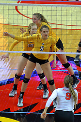 23 November 2017:  Allison Ketcham and Sydney Bronner get set during a college women's volleyball match between the Valparaiso Crusaders and the Illinois State Redbirds in the Missouri Valley Conference Tournament at Redbird Arena in Normal IL (Photo by Alan Look)