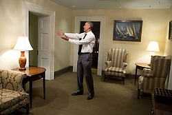 President Barack Obama bids farewell to House Democratic Leader Nancy Pelosi, D-Calif., in a hallway of the West Wing of the White House, April 29, 2015. (Official White House Photo by Pete Souza)<br /> <br /> This official White House photograph is being made available only for publication by news organizations and/or for personal use printing by the subject(s) of the photograph. The photograph may not be manipulated in any way and may not be used in commercial or political materials, advertisements, emails, products, promotions that in any way suggests approval or endorsement of the President, the First Family, or the White House.