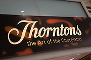 Sign for the confectionary and chocolate brand Thorntons in Birmingham, United Kingdom.