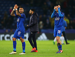 Danny Simpson and Christian Fuchs of Leicester City celebrate at full time - Mandatory by-line: Matt McNulty/JMP - 22/11/2016 - FOOTBALL - King Power Stadium - Leicester, England - Leicester City v Club Brugge - UEFA Champions League