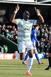 Yeovil Town's Gozie Ugwu scores his sides goal - Photo mandatory by-line: Harry Trump/JMP - Mobile: 07966 386802 - 21/02/15 - SPORT - Football - Sky Bet League One - Yeovil Town v Gillingham - Huish Park, Yeovil, England.