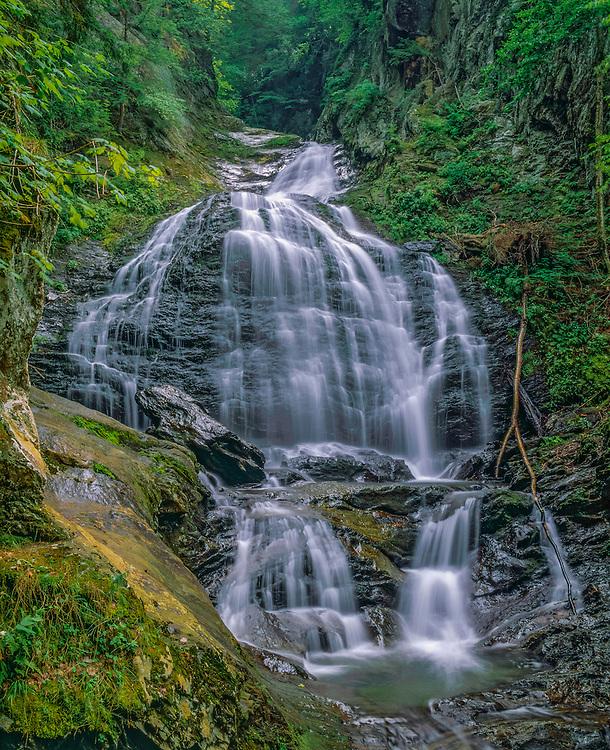 Moss Glen Falls (2), over 100 foot drop, in summer, Stowe, VT