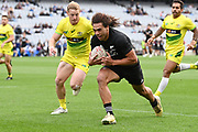 Brady Rush scores a try.<br /> All Blacks Sevens v Australia, Trans-Tasman Sevens. Eden Park, Auckland. New Zealand. Saturday 22 May 2021. © Copyright Photo: Andrew Cornaga / www.photosport.nz