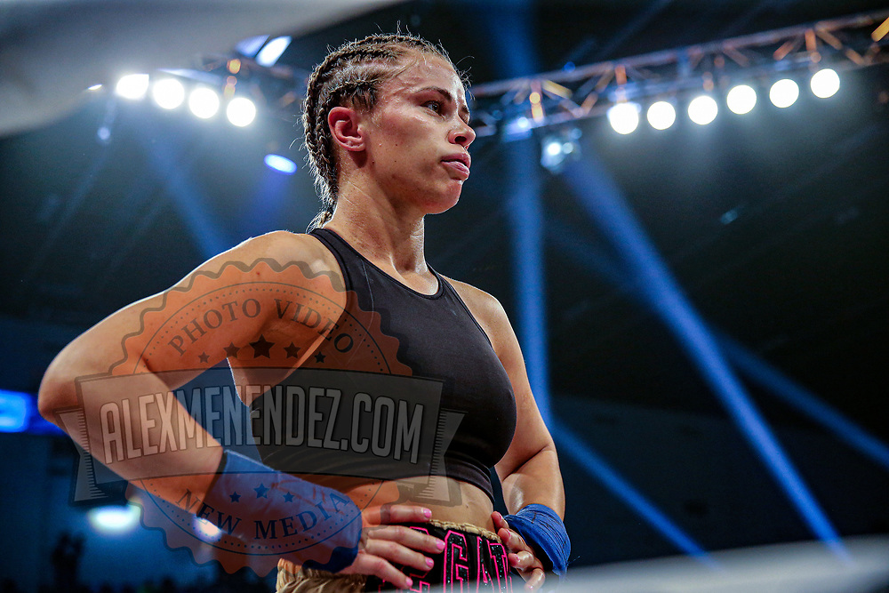 TAMPA, FL - FEBRUARY 06: Paige Van Zant fights Britain Hart during the BKFC KnuckleMania event at RP Funding Center on February 6, 2021 in Tampa, Florida. (Photo by Alex Menendez/Getty Images) *** Local Caption *** Paige Van Zant; Britain Hart