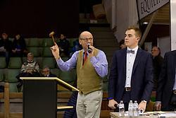 Veiling meester, Zagers Dirk, De Cleene Louis<br /> BWP Hengsten keuring Koningshooikt 2015<br /> © Hippo Foto - Dirk Caremans<br /> 23/01/16