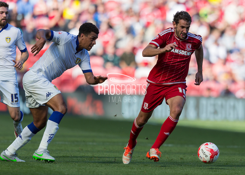 Middlesbrough FC striker Christian Stuani  runs with the ball during the Sky Bet Championship match between Middlesbrough and Leeds United at the Riverside Stadium, Middlesbrough, England on 27 September 2015. Photo by George Ledger.