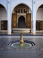 MARRAKESH, MOROCCO - CIRCA APRIL 2017: Fountain at the Bahia Palace in Marrakech
