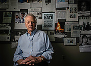 MONTGOMERY, AL -- 5/25/17 -- Even at age 80, Morris Dees still comes into the office daily. The attorney has made a career taking down racist organizations and hate groups over the years, and has created an infrastructure to continue that work well into the future. Dees is pictured in the SPLC War Room among clips that celebrate their many legal victories.<br /> Civil Rights attorney Morris Dees co-founded the Southern Poverty Law Center in 1971. The group has taken on the Ku Klux Klan and fought for against hate for decades, but is now facing criticism that it has labeled some groups without just cause..…by André Chung #_AC17380