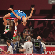 TOKYO, JAPAN August 1:  Joint gold medalist Gianmarco Tamberi of Italy in action during the High Jump Final during the Track and Field competition at the Olympic Stadium  at the Tokyo 2020 Summer Olympic Games on July 31, 2021 in Tokyo, Japan. (Photo by Tim Clayton/Corbis via Getty Images)