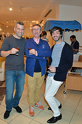 Left to right, JACOB KENEDY, JASPER CONRAN and OISIN BYRNE at a party to celebrate the launch of Conran Italia at The Conran Shop, Michelin House, 81 Fulham Road, London on 19th March 2015.