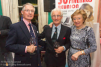 (l to r) John Godkin, Richard Gibson, and Sandy Godkin at the reunion night to celebrate 50 years of the Irish Fireball Class, held at the Royal St George YC.