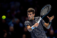 Novak Djokovic of Serbia during the Nitto ATP World Tour Finals at the O2 Arena, London, United Kingdom on 16 November 2018. Photo by Martin Cole