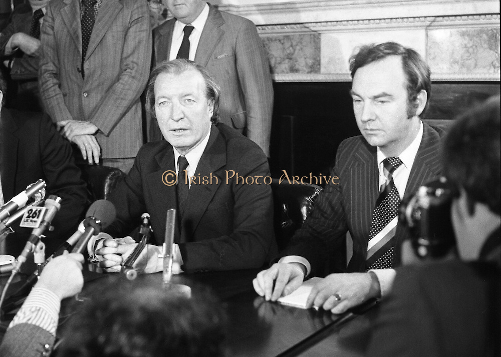 Charles Haughey,New Fianna Fáil Leader  (N5)..1979..07.12.1979..12.07.1979..7th December 1979..Today saw the election of Mr Charles Haughey as leader of Fianna Fáil. Mr Haughey takes over the role after the resignation of Jack Lynch.In a surprise result Mr Haughey beat the party favourite Mr George Colley TD..Image of Mr Charles Haughey TD taking questions from the media after his appointment as Fianna Fáil leader.