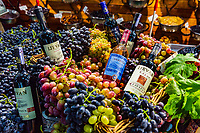 Yerevan , Armenia - August 16, 2019 :   supermarket stall with grappes and wines