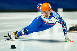 Semen Elistratov of Russia in action on 500 meter during ISU World Short Track speed skating Championships on March 05, 2021 in Dordrecht