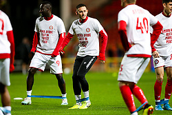 Josh Brownhill as Bristol City wear special warm up shirts in tribute to the Afobe family following the passing of Benik Afobe's baby daughter Amora, aged 2 - Rogan/JMP - 10/12/2019 - Ashton Gate Stadium - Bristol, England - Bristol City v Milwall FC - Sky Bet Championship.