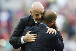 FIFA President Gianni Infantino, Belgium coach Roberto Martinez during the 2018 FIFA World Cup Play-off for third place match between Belgium and England at the Saint Petersburg Stadium on June 26, 2018 in Saint Petersburg, Russia