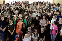 Pope Francis visits a school on the outskirts of Rome on May 25, 2018. Another Mercy Friday for Pope Francis; a complete shock for the staff, children and parents participating in an event at the Elisa Scala Institute, a state-run school on the outskirts of Rome. For 5 months the students at Elisa Scala Institute have been preparing for an event called 'We are the protagonists.' It gave the students the opportunity of immersing themselves in a variety of artistic, athletic and dramatic disciplines. Proud parents had come to participate when in walked Pope Francis ! The school, originally built in the 1950s, now bears the name of 11-year-old Elisa Scala who died in 2015 from leukemia. Photo by ABACAPRESS.COM